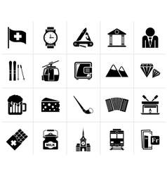 Black Switzerland industry and culture icons vector image