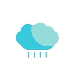 Blue cloud with rain colored flat icon vector