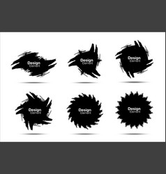 Brush stroke grunge circle set hand drawn brush vector