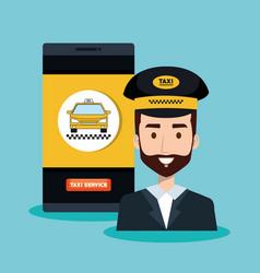 Call center operator taxi service app cartoon vector