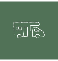 Camper van icon drawn in chalk vector