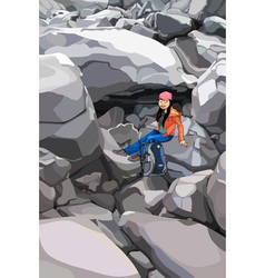 Cartoon girl tourist with a backpack in the rocks vector