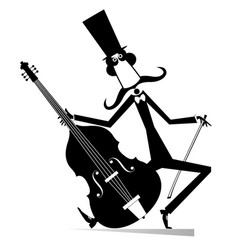 cartoon long mustache cellist isolate vector image