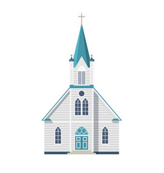 Catholic church with cross door and windows front vector
