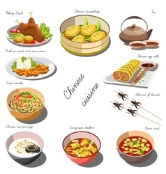 Chinese cousine set Collection of food dishes vector