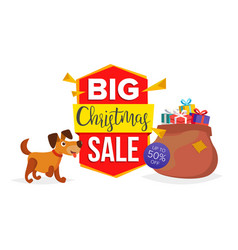 christmas dog sale banner template sale vector image
