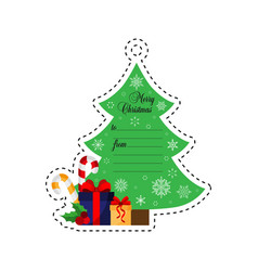 christmas tree with gifts gift tag vector image