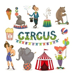 circus funfair and fairground icon set vector image