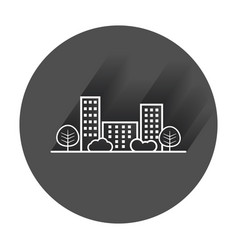 City in flat style building tree and shrub with vector