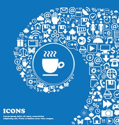 Coffee cup sign Nice set of beautiful icons vector image