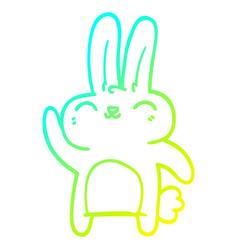 Cold gradient line drawing cartoon happy rabbit vector