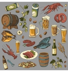 Colored beer hand drawing set of sketches vector