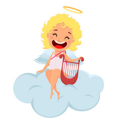cupid holds harp and sits on cloud vector image