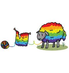 Cute gay rainbow sheep cartoon vector