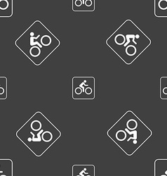 Cyclist sign Seamless pattern on a gray background vector image