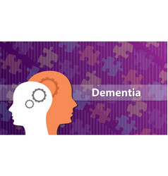 dementia old people ill sick with head and puzzle vector image