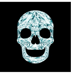 Diamond skull on black background vector