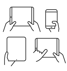 Different variations of holding a modern gadget vector image