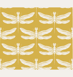dragonfly seamless pattern vintage retro vector image