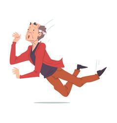 Elderly retired man falling down accident pain vector