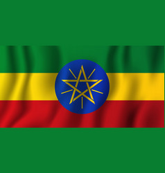 ethiopia realistic waving flag national country vector image