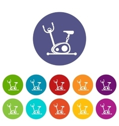 Exercise bike set icons vector