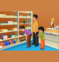 family shopping for back to school vector image