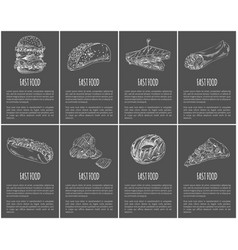fast food posters set dishes vector image