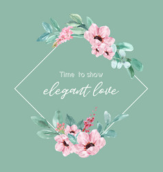 Floral charming wreath design with watercolor vector