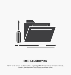 Folder tool repair resource service icon glyph vector