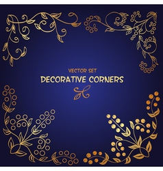 Golden decorative floral corners vector image vector image