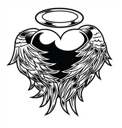 Graphic detailed hart angel or bird wings vintage vector