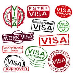 grunge rubber visa stamps vector image
