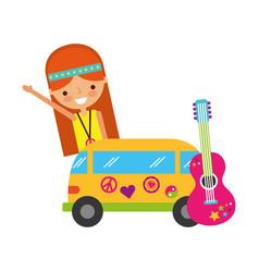 hippie woman cartoon van and guitar vector image