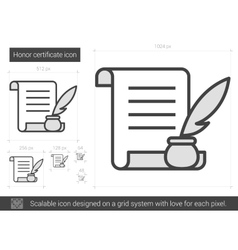 Honor certificate line icon vector