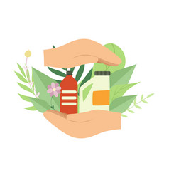 Human hands holding eco friendly household vector
