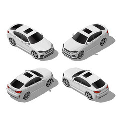 Isometric white off-road car set different sides vector