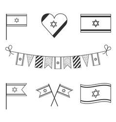 Israel flag icon set in black outline design vector