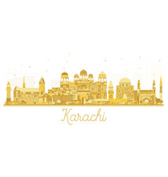 Karachi pakistan city skyline golden silhouette vector