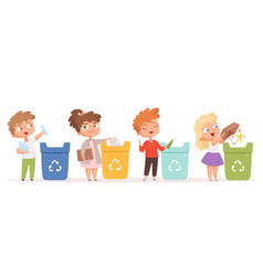 Kids recycling garbage saving nature ecology safe vector