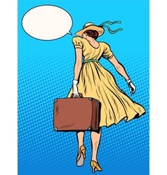 Lady traveler with suitcase vector