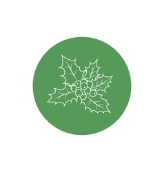 Linear icon christmas holly berry vector