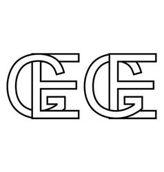 Logo sign ge eg icon sign interlaced letters e g vector