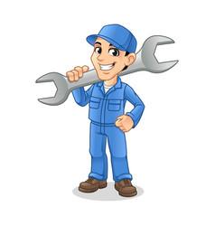 mechanic man holding huge wrench vector image