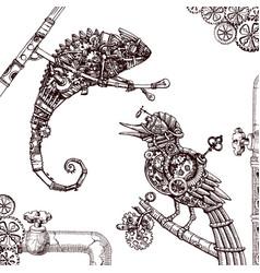 mechanical chameleon hand drawn steampunk vector image