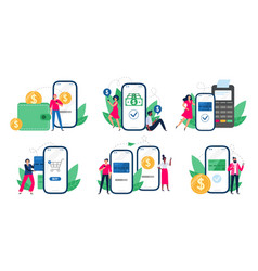 mobile payments people with smartphones send vector image