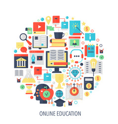 Modern online education flat infographics icons in vector