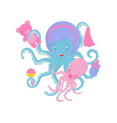 Mom octopus with her little baby marine animal vector
