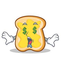 money eye slice bread cartoon character vector image