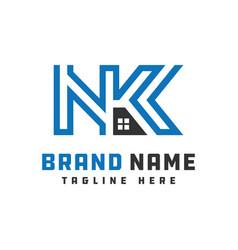 Monogram logo design letter nk vector